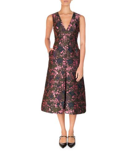 Havana Floral Jacquard Sleeveless A-Line Midi Dress, Pink/Green