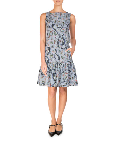 Paisley Vine Matelasse Sleeveless Flounce Dress, Blue/Pink