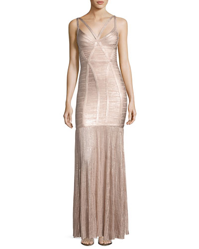 Sleeveless Metallic Plissé Bandage Gown, Pink