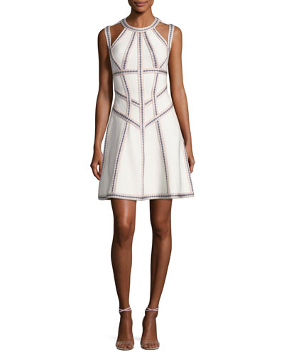 Honeycomb Jacquard Fit & Flare Dress, White