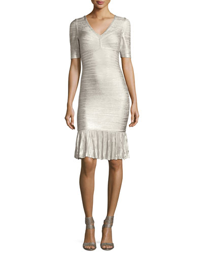 Foil Metallic Pointelle Flounce-Hem Bandage Dress