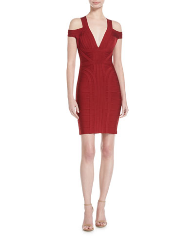 Cold-Shoulder V-Neck Bandage Dress, Ruby