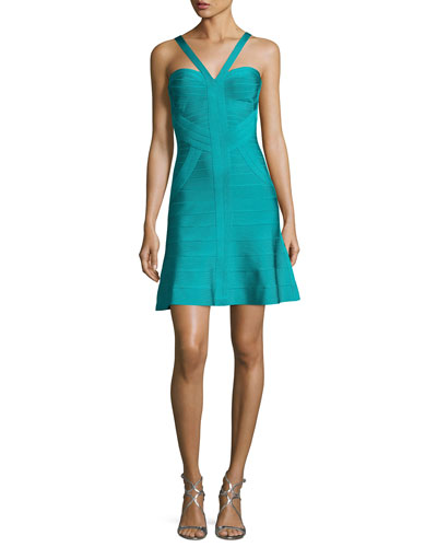Cross-Front Fit & Flare Bandage Dress, Turquoise
