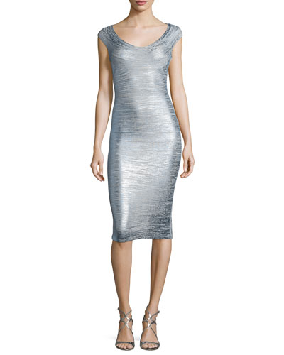 Foil Metallic Scoop-Neck Bandage Dress