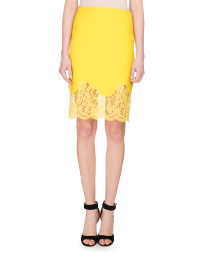 Lace-Hem Wool Pencil Skirt, Yellow