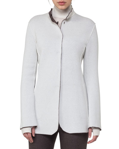 Reversible Bicolor Cashmere Cardigan