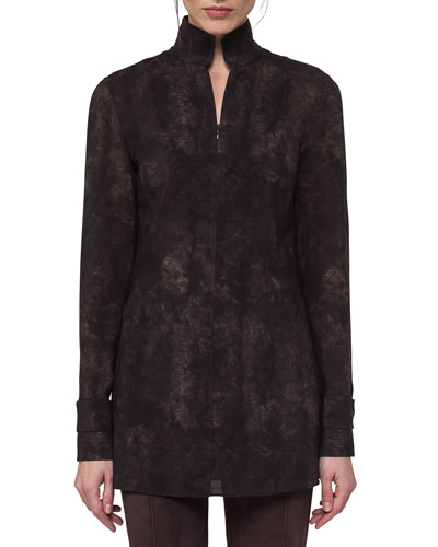 Shearling-Print Wool Stand-Collar Blouse