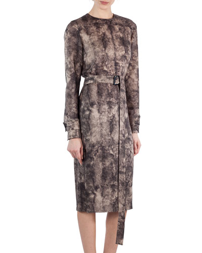 Shearling-Print Wool Belted Dress