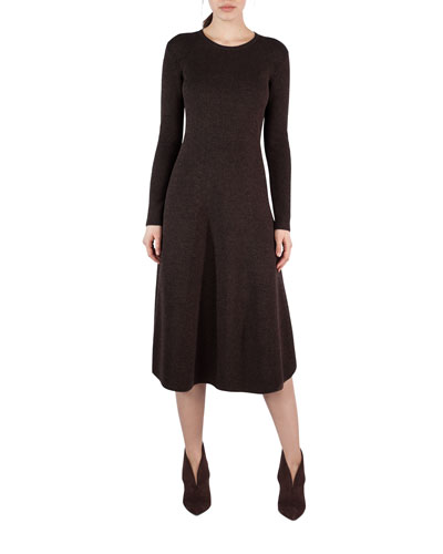 Ribbed Stretch Wool-Silk A-Line Dress