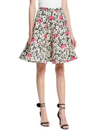 Floral Waves Flared Skirt