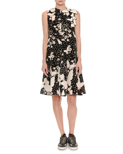 Sleeveless Butterfly Silk A-line Dress, Black