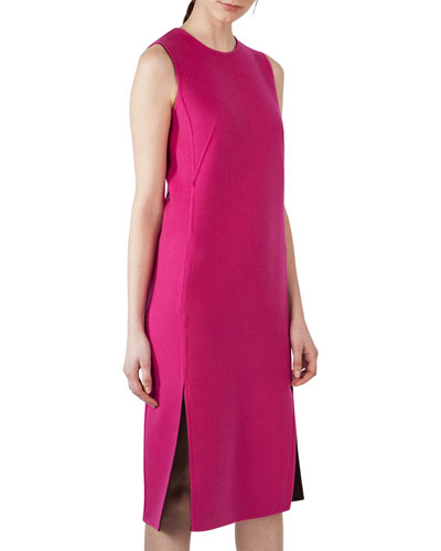 Reversible Bicolor Cashmere Sheath Dress