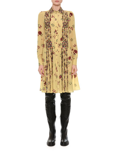 Beaded Floral-Print Shirtdress, Yellow