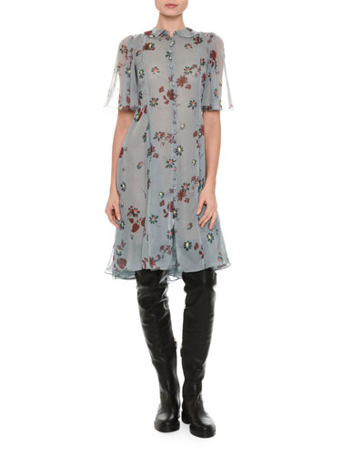 Floral-Print Chiffon Shirtdress, Blue