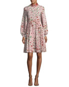 Long-Sleeve Floral-Print Silk Dress