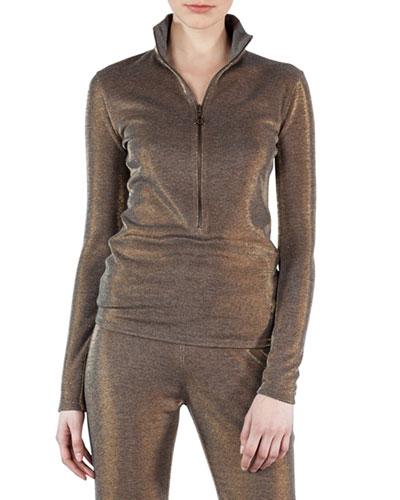 Reversible Lurex Quarter-Zip Pullover