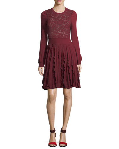 Virgin Wool Pleated Dress with Lace