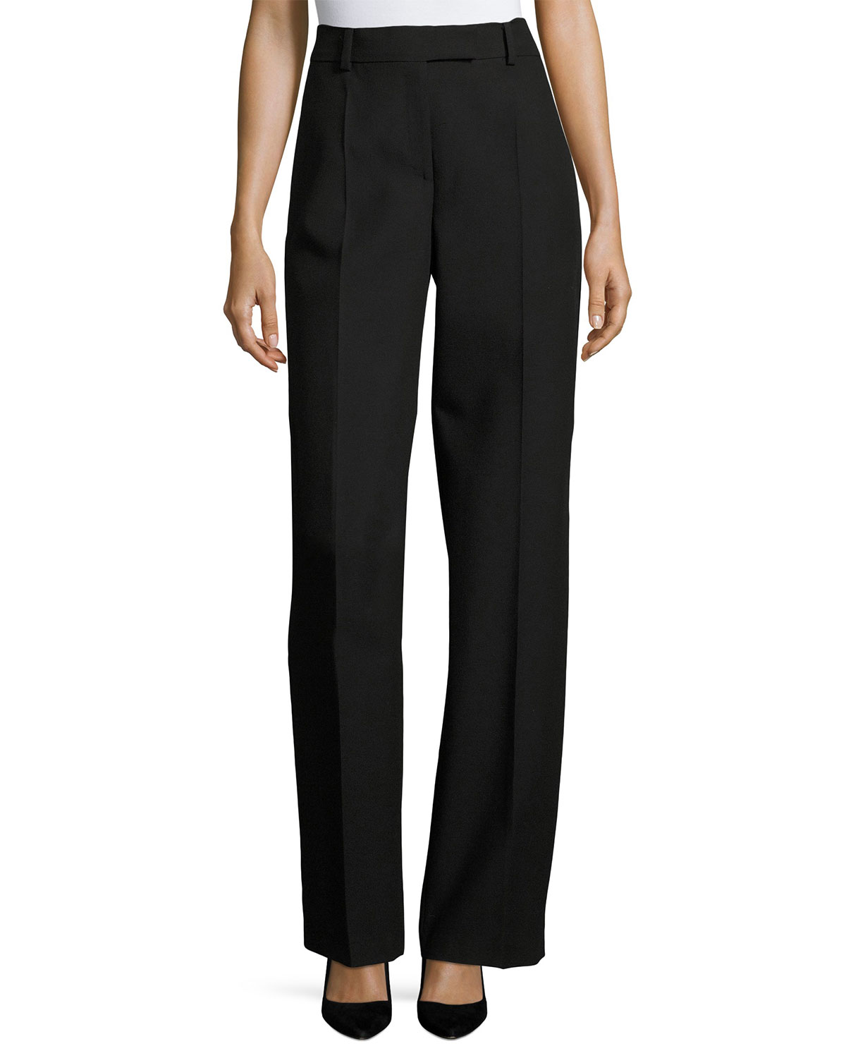 Virgin Wool High-Waist Straight-Leg Pants