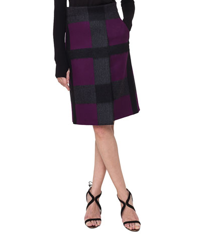 Felted Optic Plaid A-Line Skirt