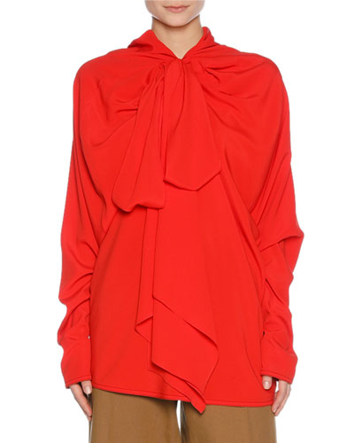 Drapey Washed Crepe Tie-Neck Blouse, Red