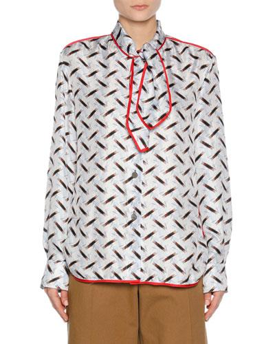 Printed Silk Scarf-Neck Shirt, Blue