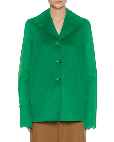 Single-Breasted Car Coat, Green