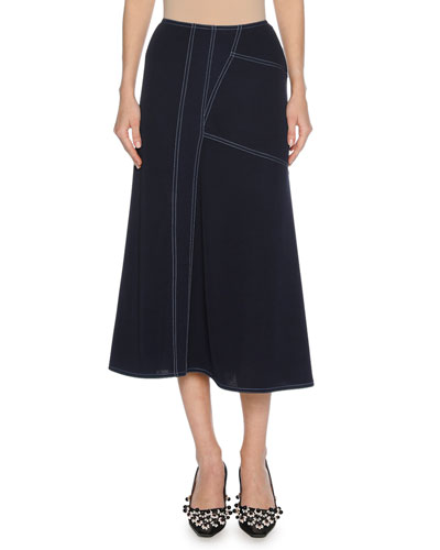 Contrast-Stitch Viscose A-Line Midi Skirt, Blue