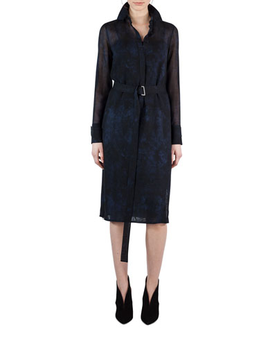 Belted Shearling-Print Wool Shirtdress