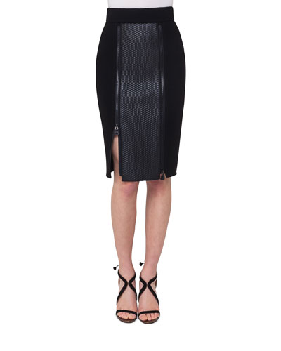 Napa Leather Paneled Zip-Slit Pencil Skirt