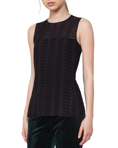 Square Jacquard Sleeveless Top