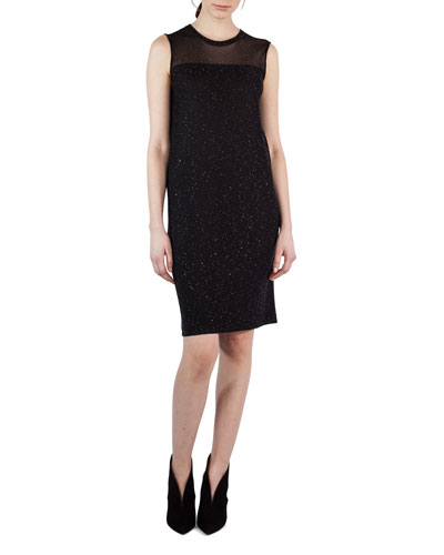 Sequined Sheer-Yoke Sleeveless Shift Dress