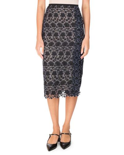 Sara Floral Lace Pencil Skirt, Black/Blue