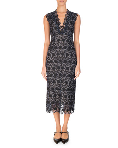 Eleri Floral Guipure Lace Midi Dress, Black/Blue