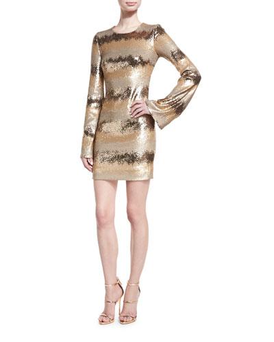 Sequined-Stripe Bell-Sleeve Minidress