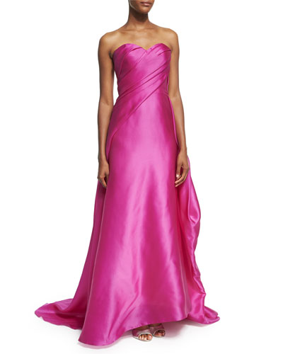 Draped Strapless Satin Gown, Fuchsia