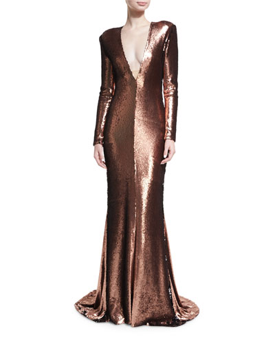 Sequined Plunging V Column Gown