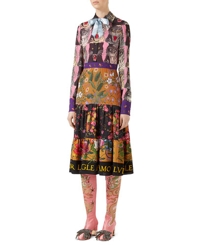 Patchwork Print Viscose Dress, Pink