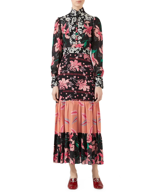 323d620ab Patchwork Print Silk Sablé Dress