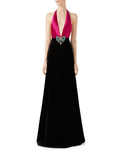 Soft Cotton Velvet Stretch Gown, Pink/Black