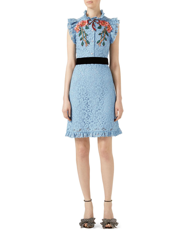 b90cac18e Embroidered Cluny Lace Dress, Light Blue