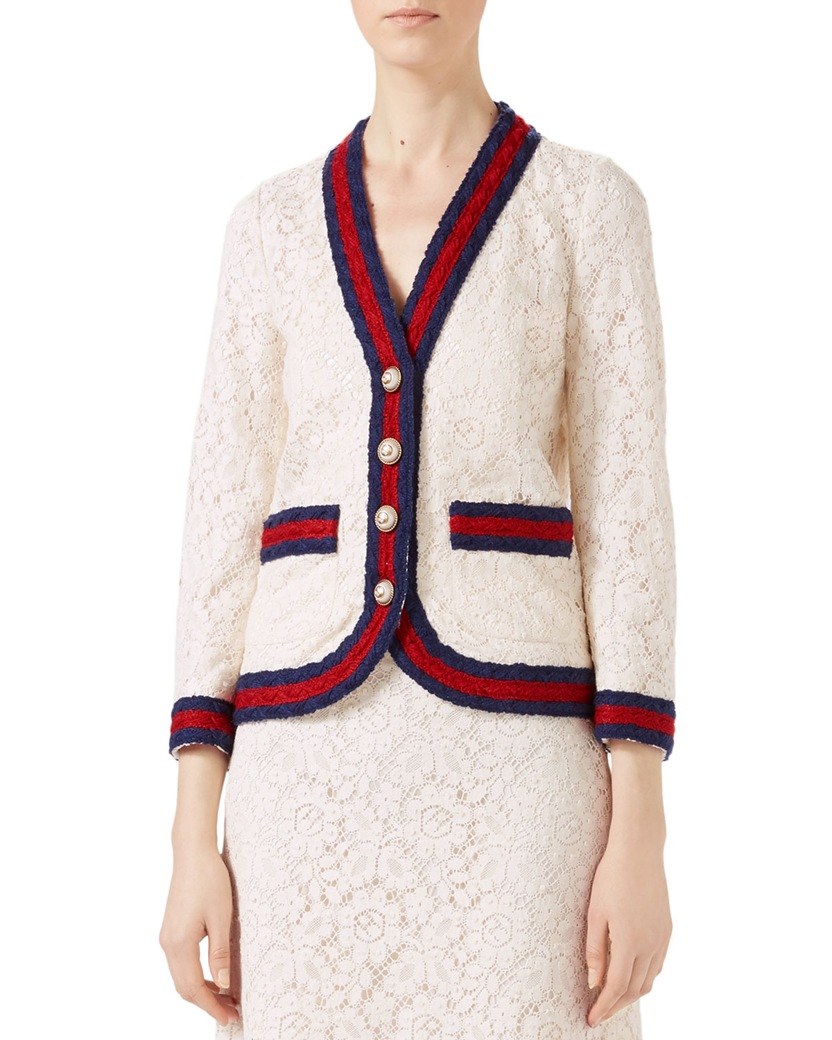 Cluny Lace Jacket with Web, White