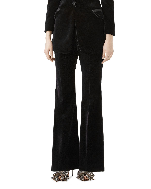 Flared Velvet Pants, Black