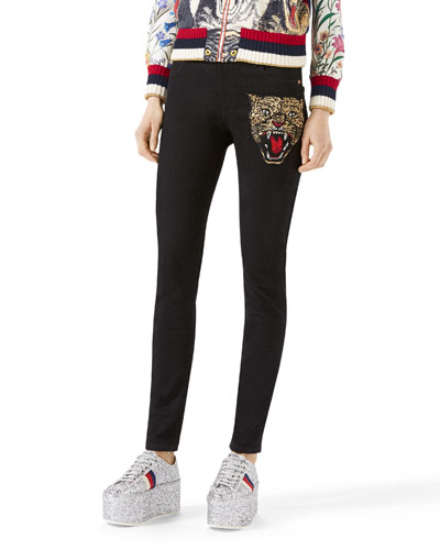 Angry Cat Embroidered Denim Pants, Black
