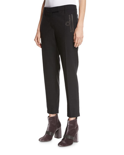 Monili-Scroll Cropped Wool-Blend Trousers