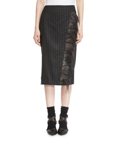Flannel Regimental-Stripe Pencil Skirt with Feather Trim