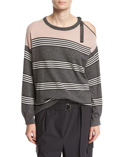 Striped Cashmere Cold-Shoulder Sweater