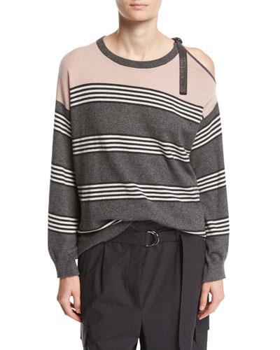 Striped Cashmere Cold-Shoulder Sweater