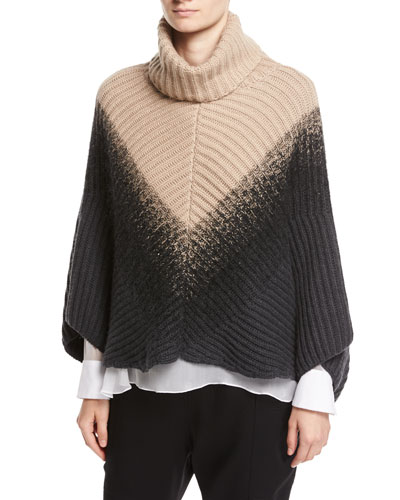 English-Rib Cashmere Dégradé Poncho