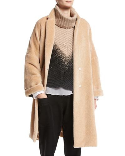 Textured Knit Alpaca Car Coat