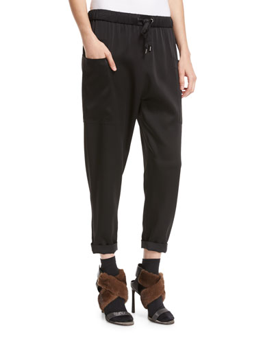 Satin Drawstring Jogger Pants